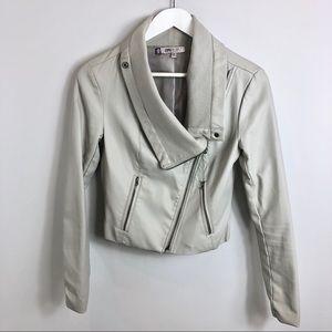 Gray J. Lo Faux Leather Jacket Moto Wrap